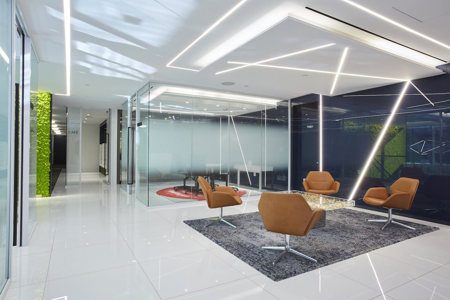 sitting area with frosted meeting room walls, side angle