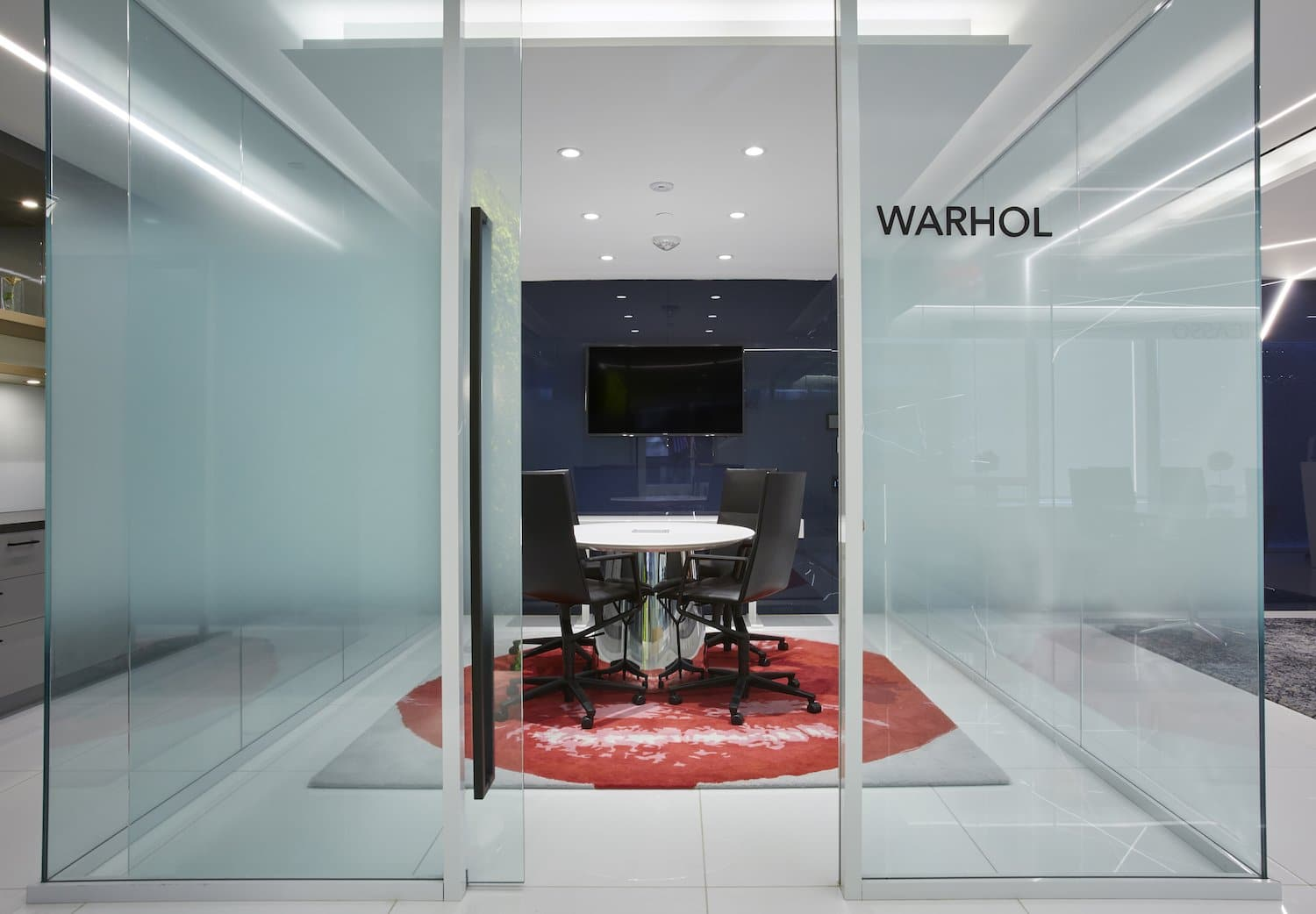 Warhol meeting room with frosted glass panels