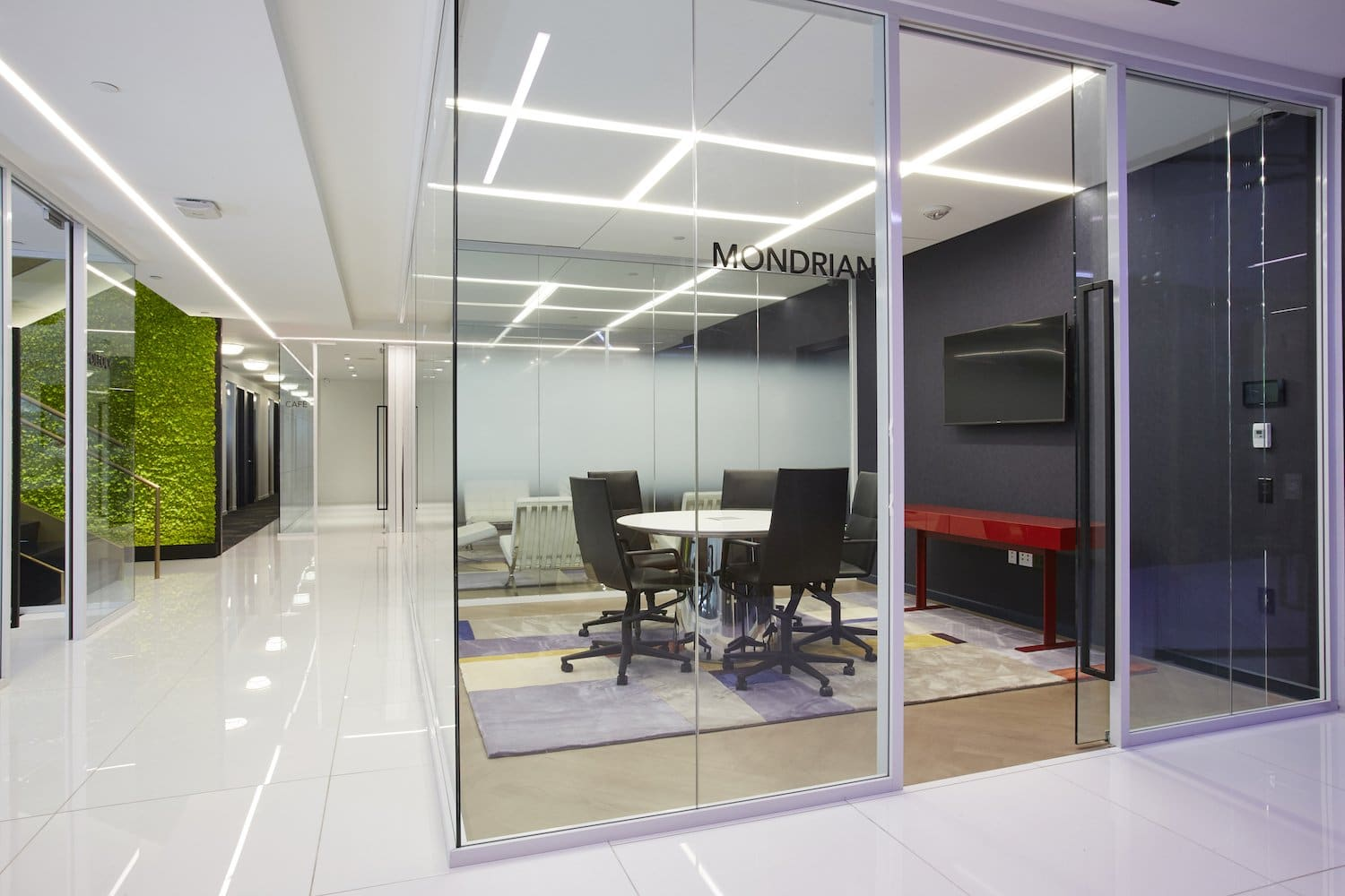 Mondrian meeting room with glass walls