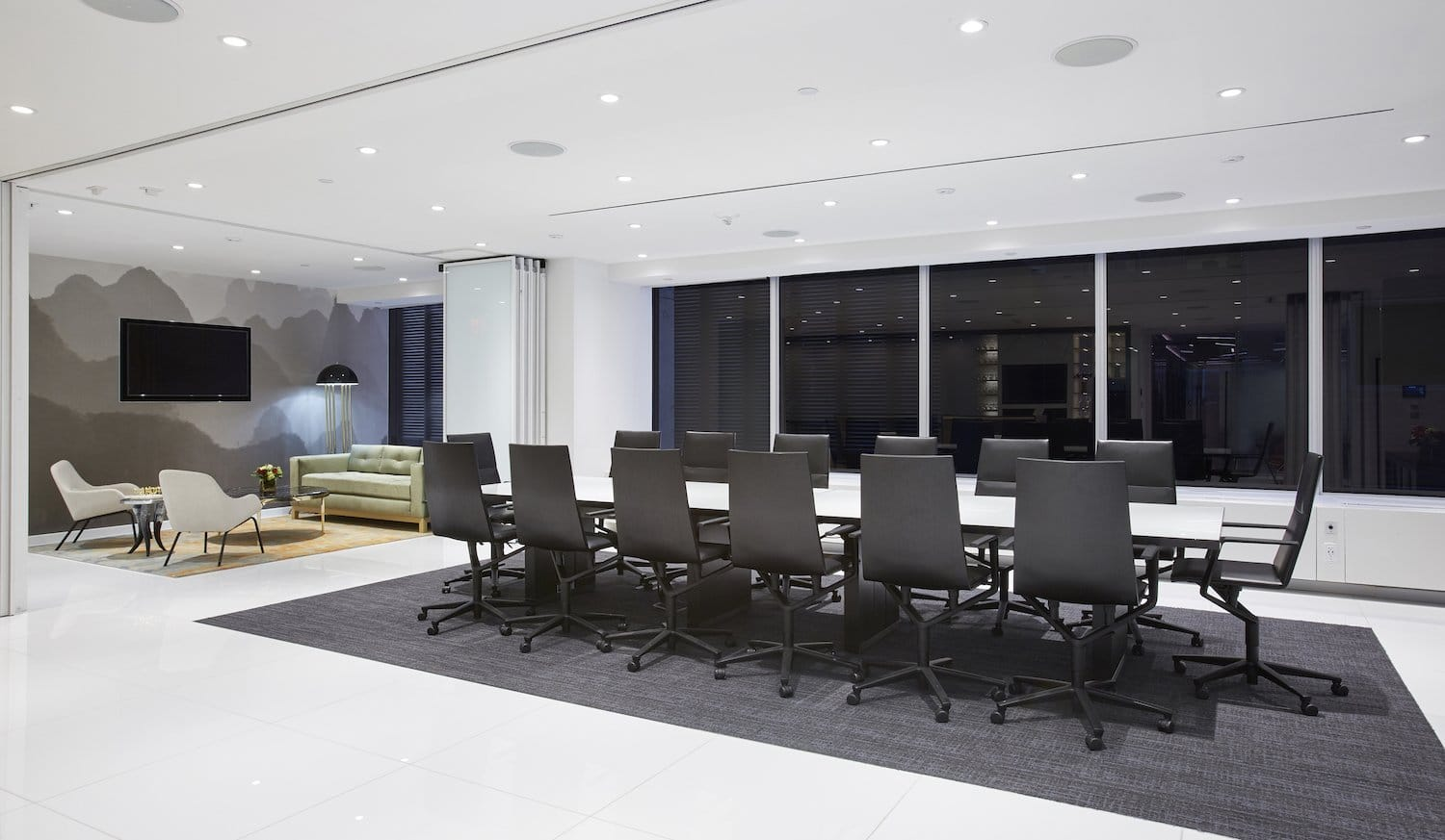 Meeting room with side sitting area
