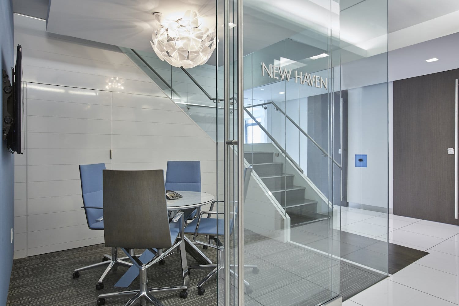 New Haven meeting room behind glass walls