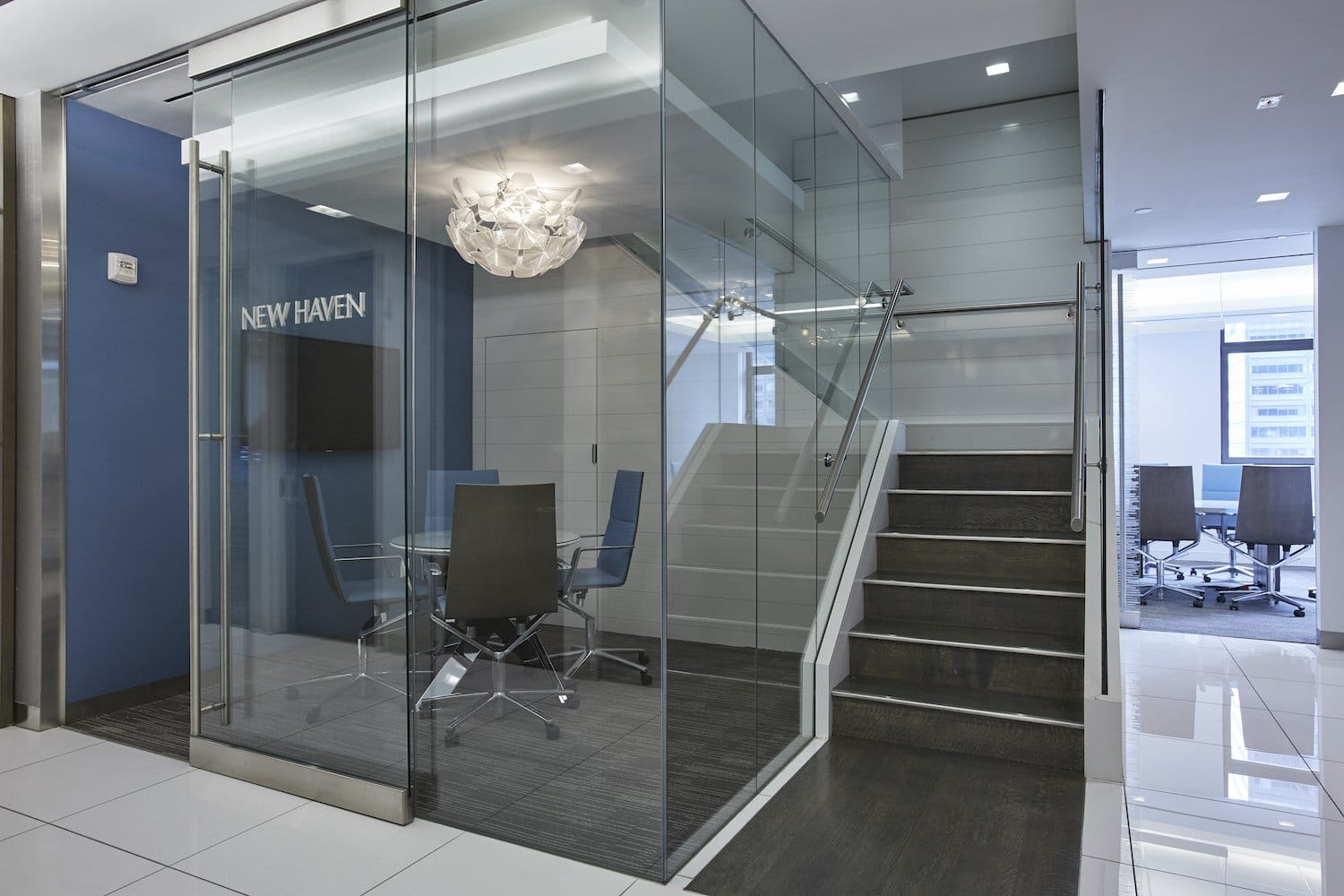 New Haven meeting room behind glass walls, front angle