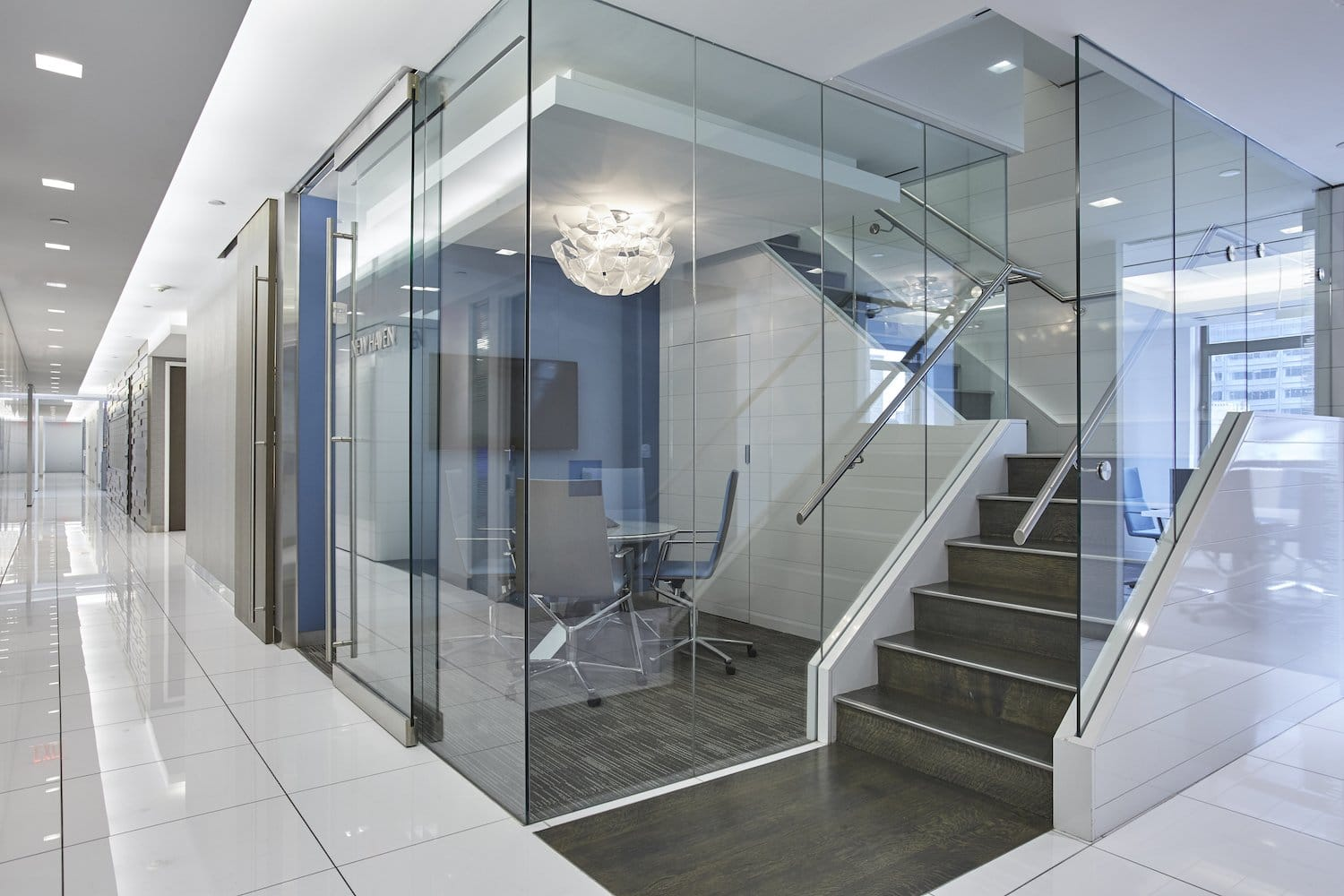 New Haven meeting room behind glass walls, side angle