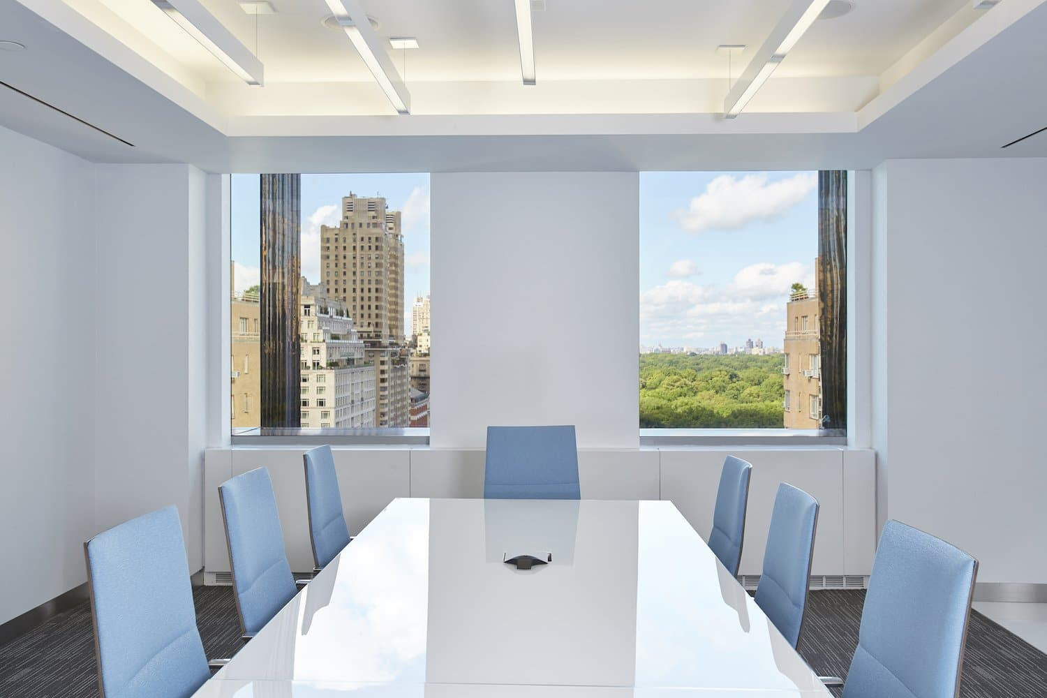 Meeting room with two windows looking out to central park
