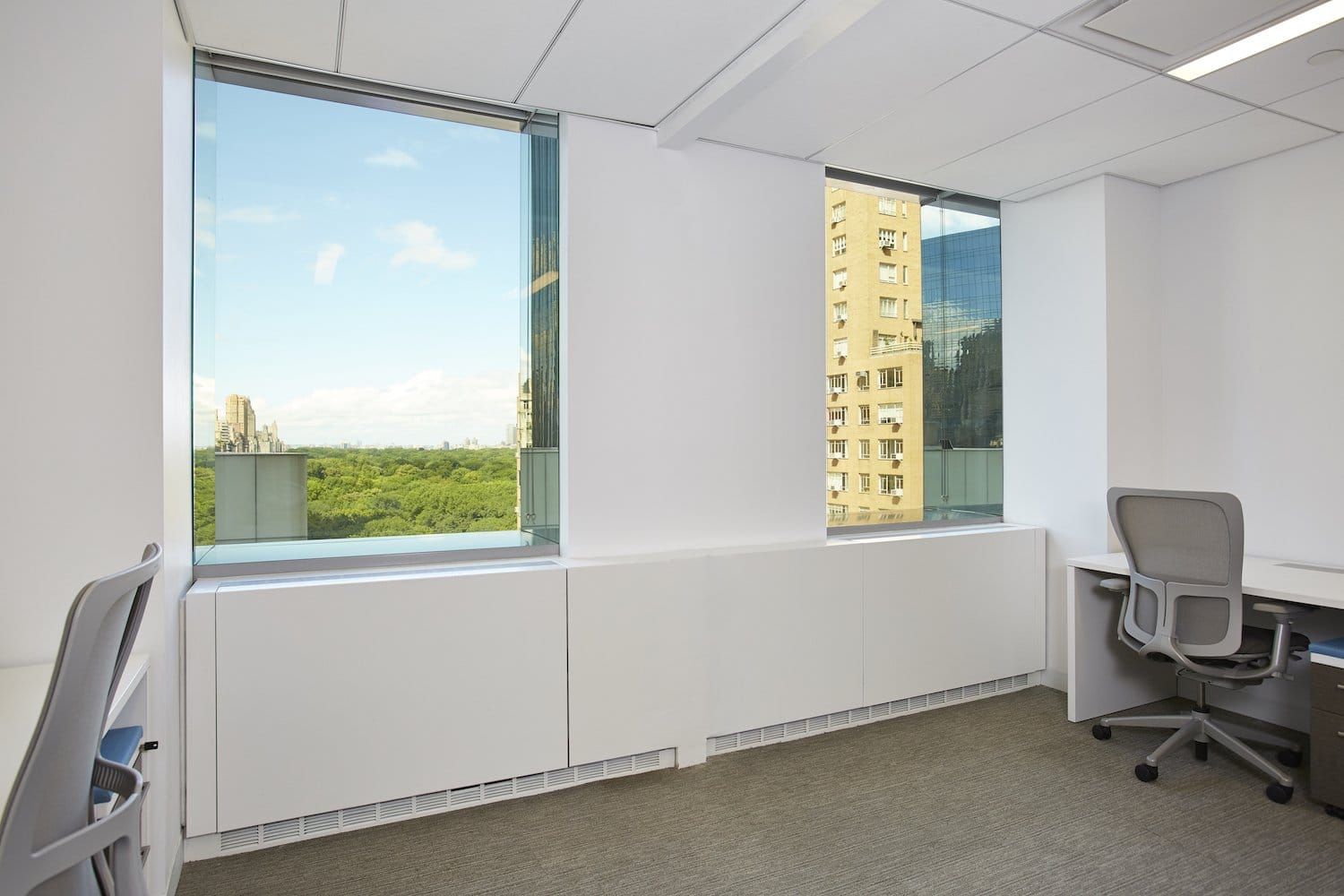 Shared office space with windows